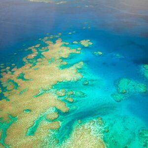 Vista aérea recife de coral ilhas Fiji
