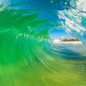 por dentro do tubo da onda