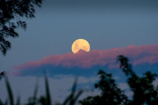 foto da lua cheia no pôr do sol
